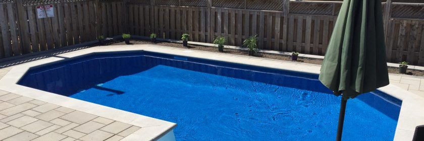 Octagonal swimming pool located in Orleans with beautiful mosaic tiles to compliment it.