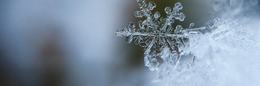 Close up macro of a snowflake
